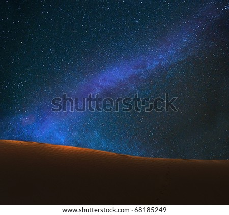 starry night on the desert india - stock photo