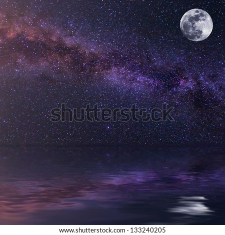 starry night reflected in a water - stock photo