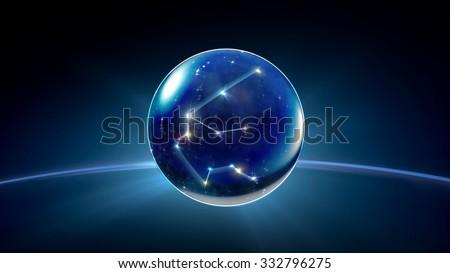 starry night star crystal ball of Horoscopes and Zodiac Signs - stock photo