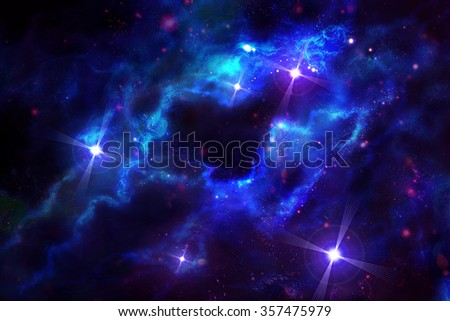 Starry sky, digital drawing - stock photo