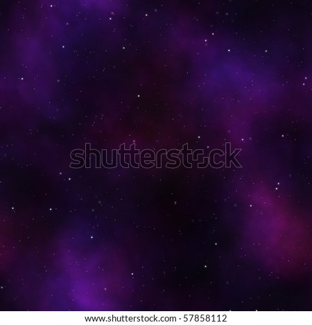 starry sky night with purple light clouds and many stars - stock photo