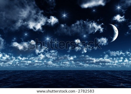 starry sky upon the ocean - stock photo
