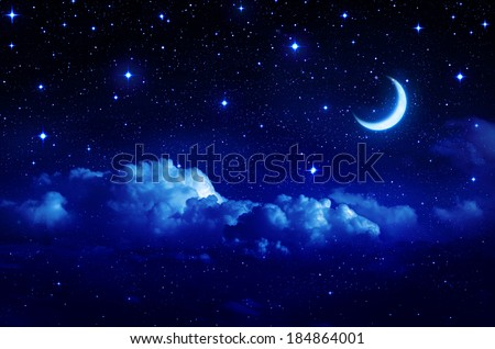 starry sky with half moon in scenic cloudscape  - stock photo