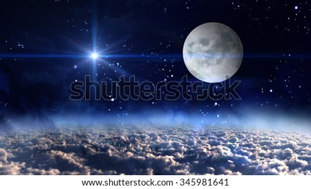 starry star night with full moon in cloudscape - Elements of this Image Furnished by NASA - stock photo