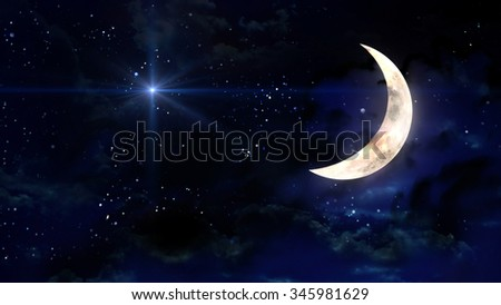 starry star night with half moon in cloudscape - Elements of this Image Furnished by NASA - stock photo