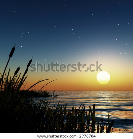 starry sunset in a dreamy lagoon - stock photo