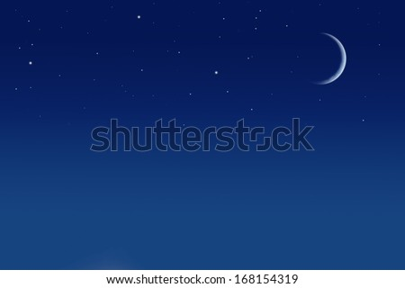 stars and moon in sky - stock photo