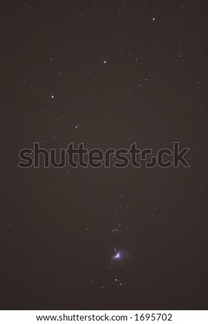 Stars and Orion Nebula in the constellation Orion - stock photo
