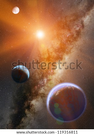Stars and planet - stock photo