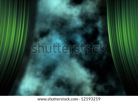 Stars and space beyond curtains - stock photo