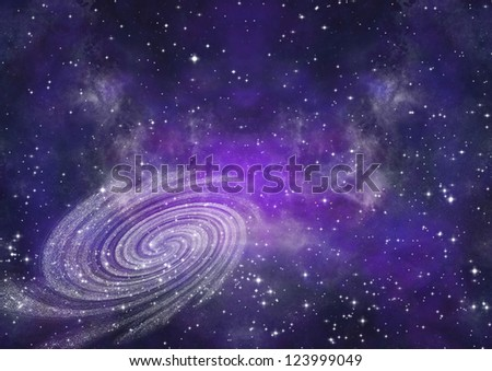 Stars and spiral galaxy in a free space - stock photo