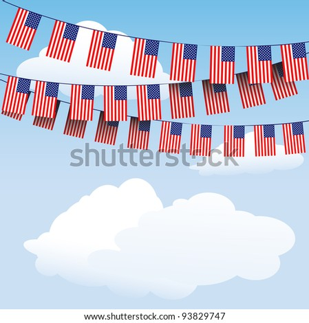 Stars and Stripes bunting on cloud background with space for your text. Also available in vector format - stock photo