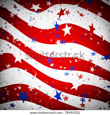 Stars and stripes resembling the US flag with dark borders - stock photo