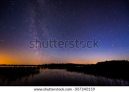 Stars and the Milky Way in the sky over the lake. Image in the blue tones - stock photo