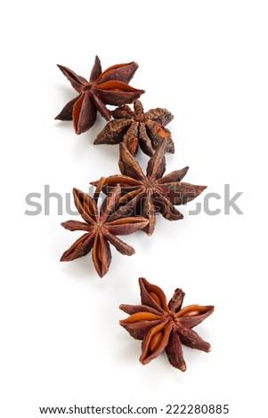 Stars anise and seeds  isolated on white background. - stock photo