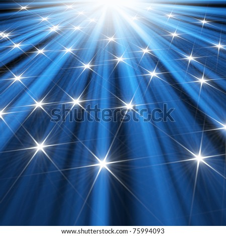 stars  background of blue luminous rays - stock photo