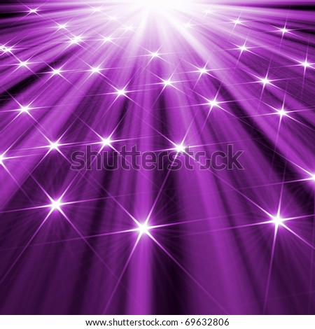 stars  background of purple  luminous rays - stock photo