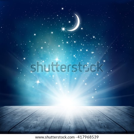 Stars background  with wooden table - stock photo