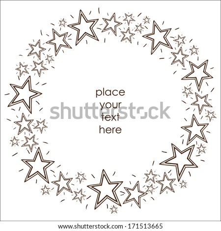 Stars border frame.  Sketch design element for holidays