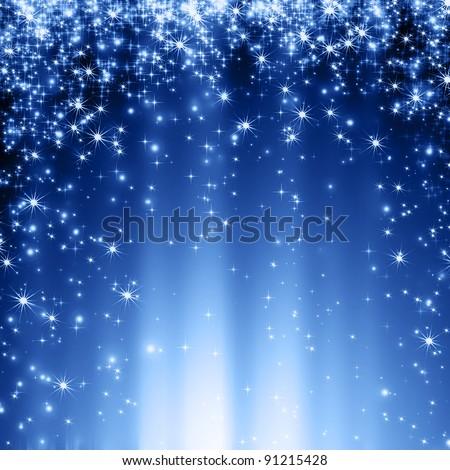 stars descending blue background - stock photo