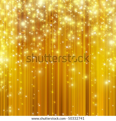 stars descending on golden background - stock photo