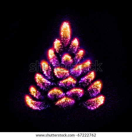 Stars gathered into a form of a weird Christmas tree - stock photo