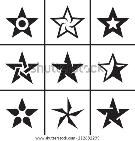 Stars icons set raster version - stock photo