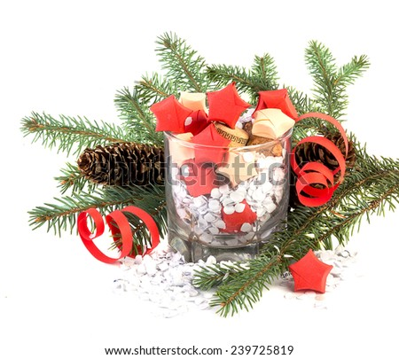 Stars in glass and pine tree, Christmas and New Year's Day decoration - stock photo