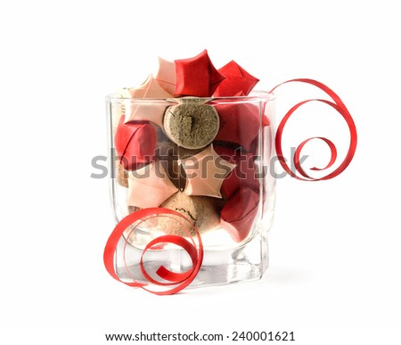 Stars in glass, Christmas and New Year's Day decoration - stock photo