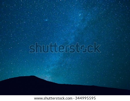 Stars in the Night Sky, Incredible Starry Night Sky with Galaxy Nebula - stock photo