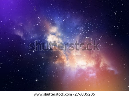 Stars in the night sky,nebula and galaxy - stock photo
