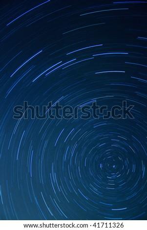 Stars movement at night - stock photo