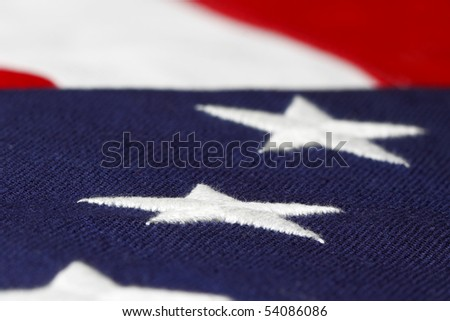 stars of the american flag in shallow focus - stock photo