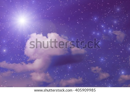 Stars on a dark sky with some clouds. My astronomy work.  - stock photo