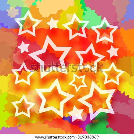 Stars on abstract colorful background - stock photo