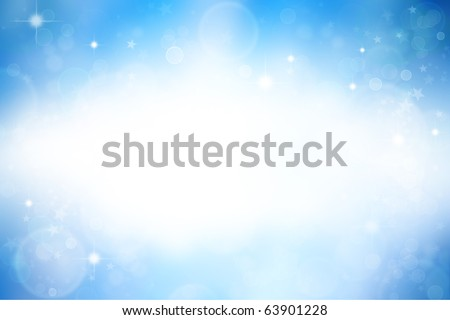 Stars on blue background. Blank white copy space - stock photo