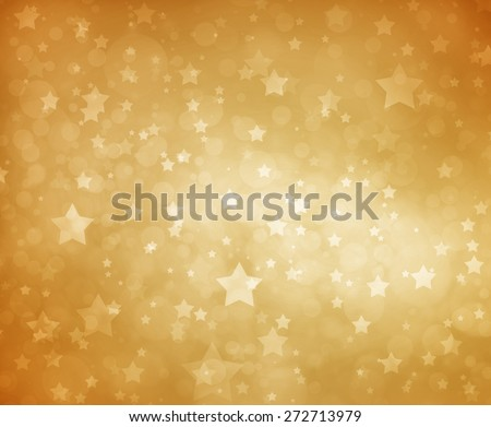 Stars on gold background. Luxury gold star background. Glittering white stars at night. Stars shining in sky. Yellow background. Gold background. - stock photo