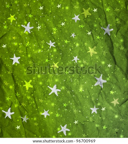 Stars on green paper, grunge, texture of crumpled paper