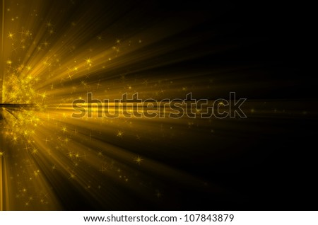 Stars  on the background of yellow rays - stock photo