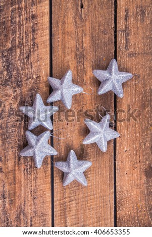 stars on the wooden background