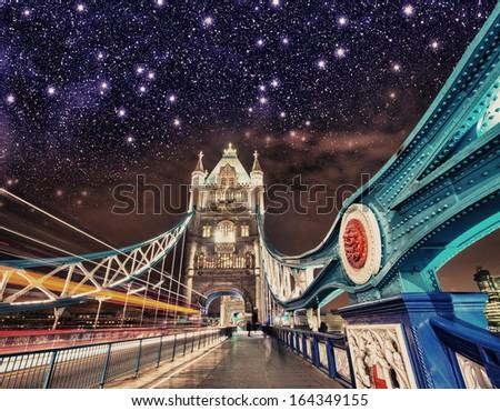 Stars over Tower Bridge. Wonderful night in London. - stock photo