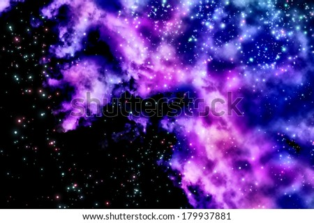 stars shine through the clouds of a new nebula - stock photo