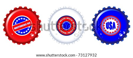 Stars & Stripes bottle caps. USA Fourth of July emblems. Also available in vector format. - stock photo