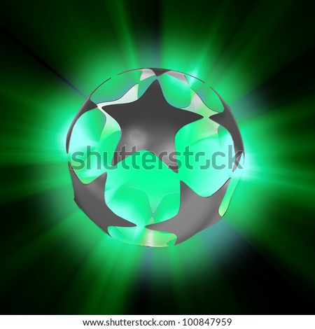 stars with glowing rays - stock photo
