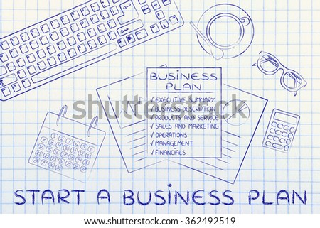 start a business plan: office desk with documents and mixed objects