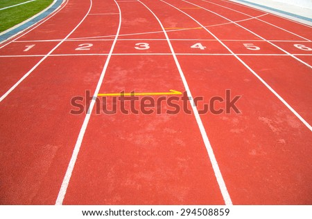 Start and Finish point of race track - stock photo