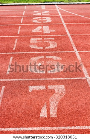 Start and Finish point of race track ,Running track numbers - stock photo