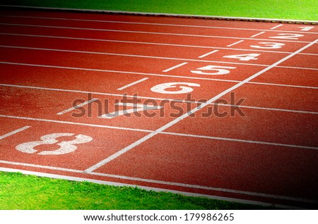 Start and Finish point of race track with number 1-8 - stock photo