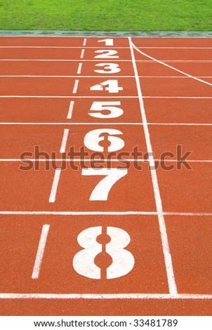 start and finish point on the stadium - stock photo