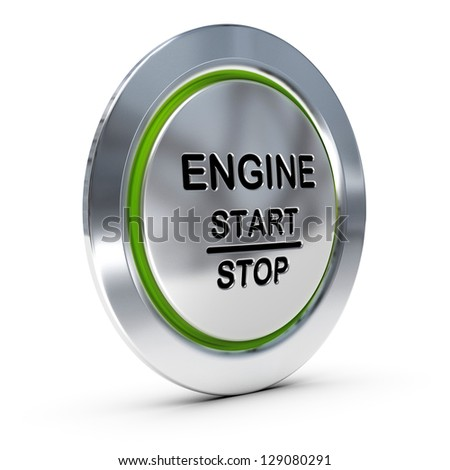 Start and stop keyless ignition button over white background with green light, engine starter concept. - stock photo